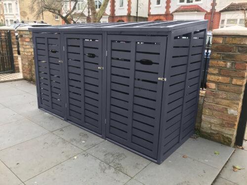 Triple wheelie bin store slate grey