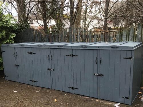 Large sextet wheelie bin store - slate grey