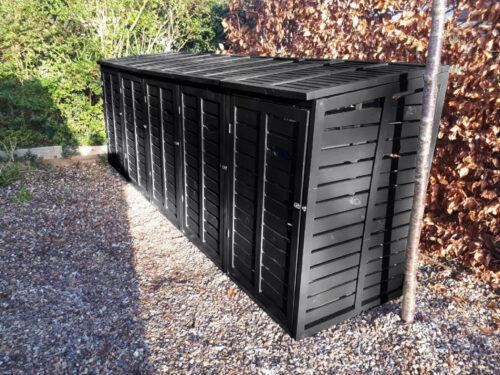 quin (5) bin storage wooden - black