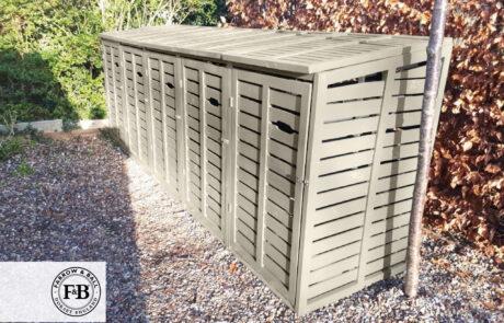 Classic wheelie bin store - large x 5 bins - farrow and ball