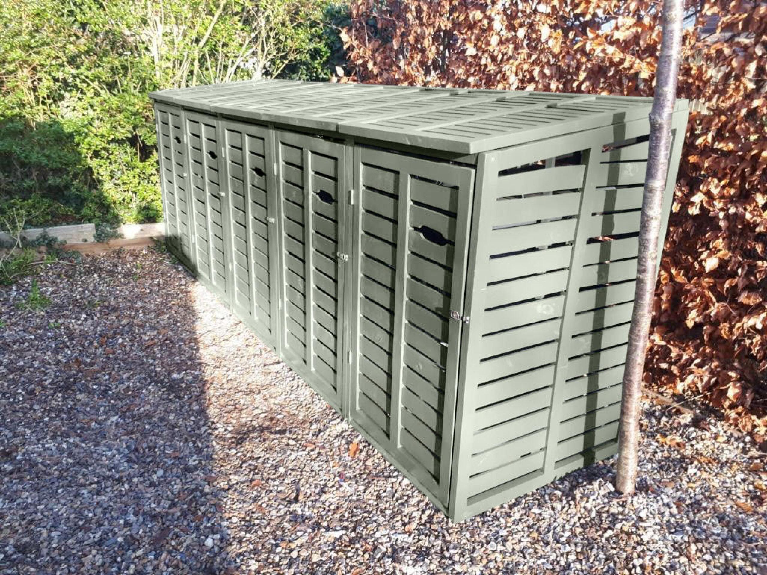 Large 5 modern wheelie bin storage - sage green