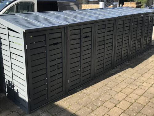 Sextet 6 wheelie bin storage unit - anthracite