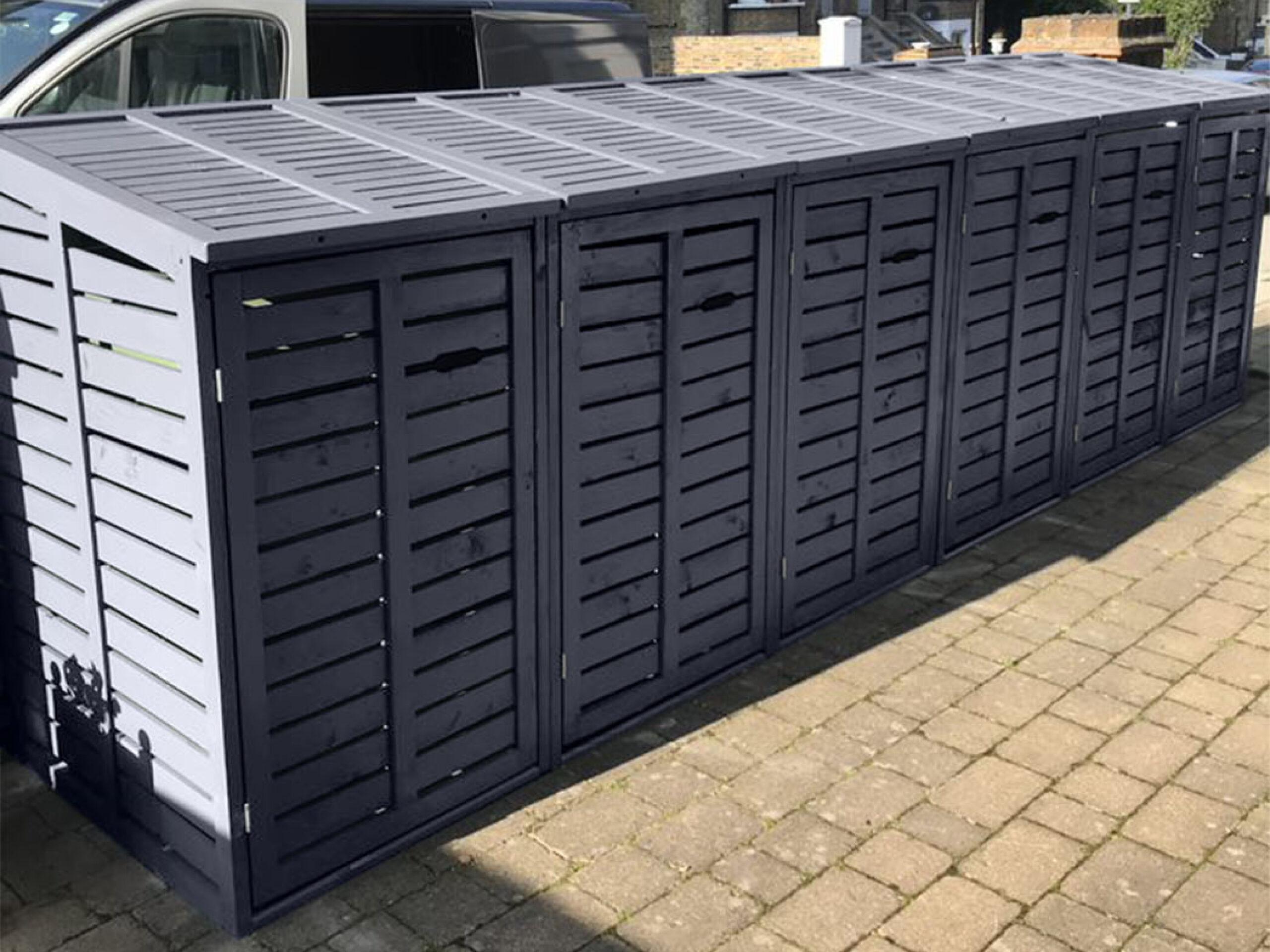 Sextet 6 classic wheelie bin store - slate grey