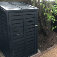 Single classic modern style wooden wheelie bin store - black
