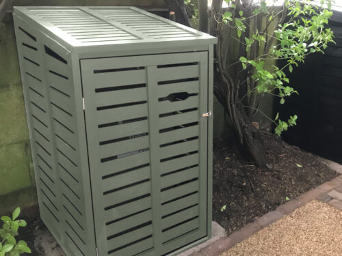 Small single wheelie bin store - modern style - sage green