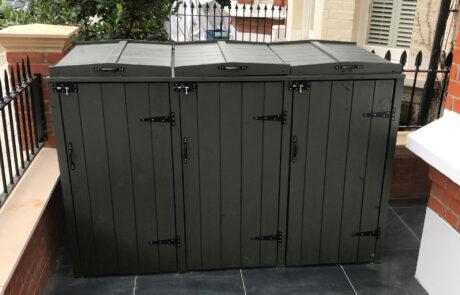 Triple wheelie bin storage unit - dark olive green