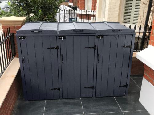 Triple wheelie bin storage - slate grey