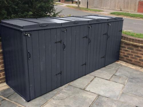 Quad wheelie bin storage country style - slate grey