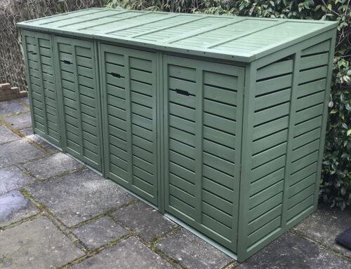 Classic range quad size wheelie bin store - sage green