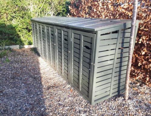 Modern design wheelie bin storage - Quin 5 - slate grey