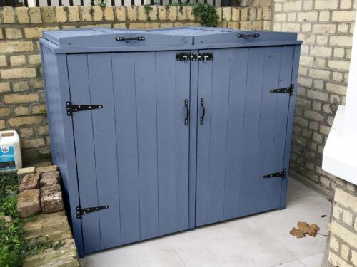 Double country range wheelie bin storage - heritage blue