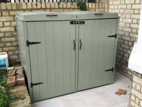 Double wooden bin storage - sage green