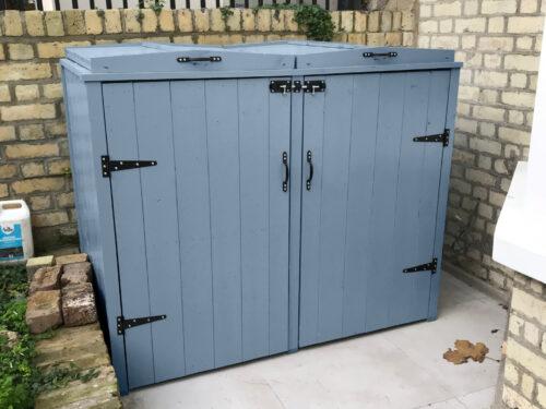 Double country style wheelie bin storage - silver grey