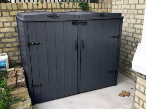 Double country style wheelie bin store - anthracite
